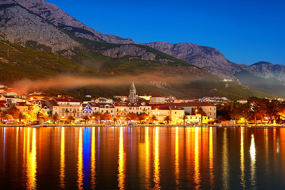 Croatia, Makarska Riviera, Makarska Village by night, Dalmatia, Croatia.