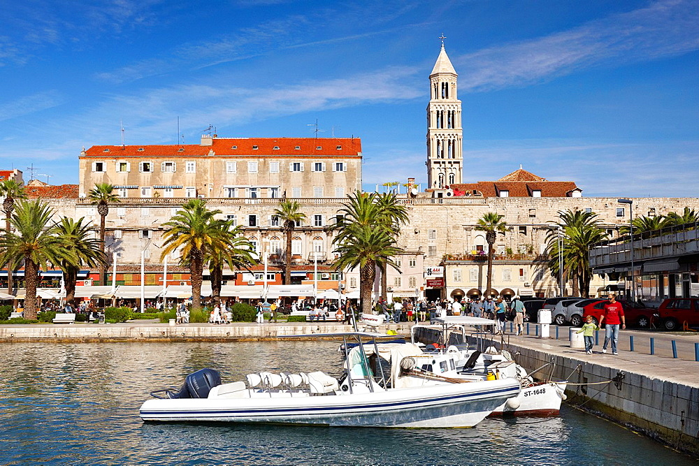 Croatia, Split, Old Town, view from harbor of the Diocletian Palace, Dalmatia, Croatia, UNESCO.