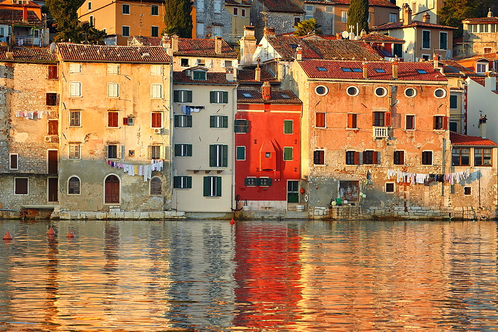 Croatia, Rovinj, shoreline of Old Town, Istria, Croatia.