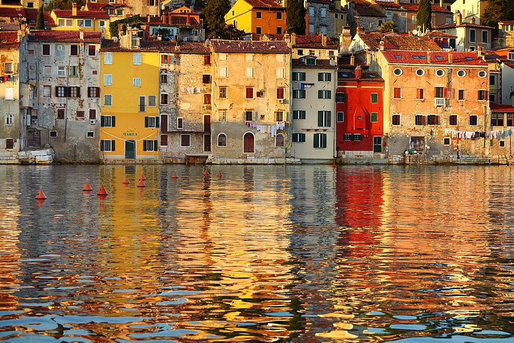 Croatia, Rovinj, shoreline of the city architecture, Istria, Croatia.