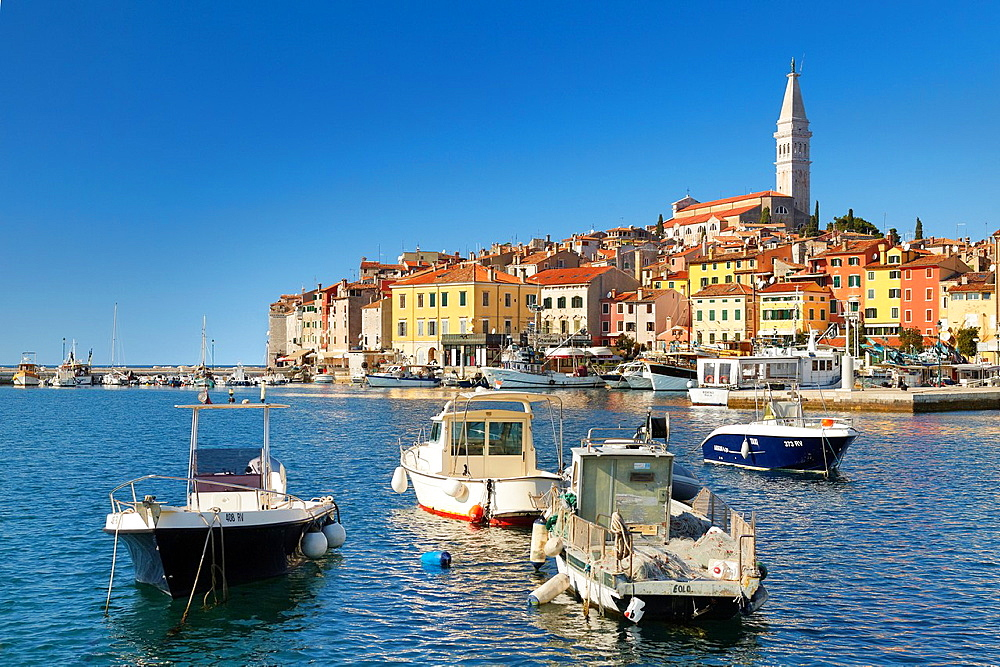 Croatia, Rovinj, Old Town, view from the sea of harbor, Istria, Croatia.