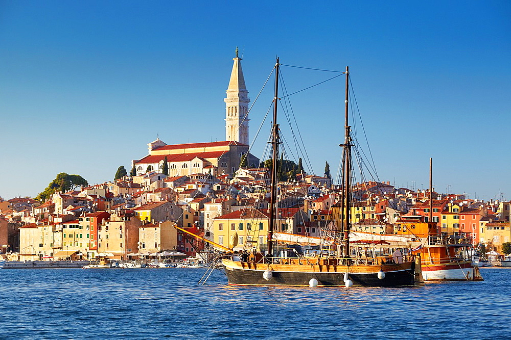 Croatia, Rovinj, view from the sea of harbor and Old Town, Istria, Croatia.