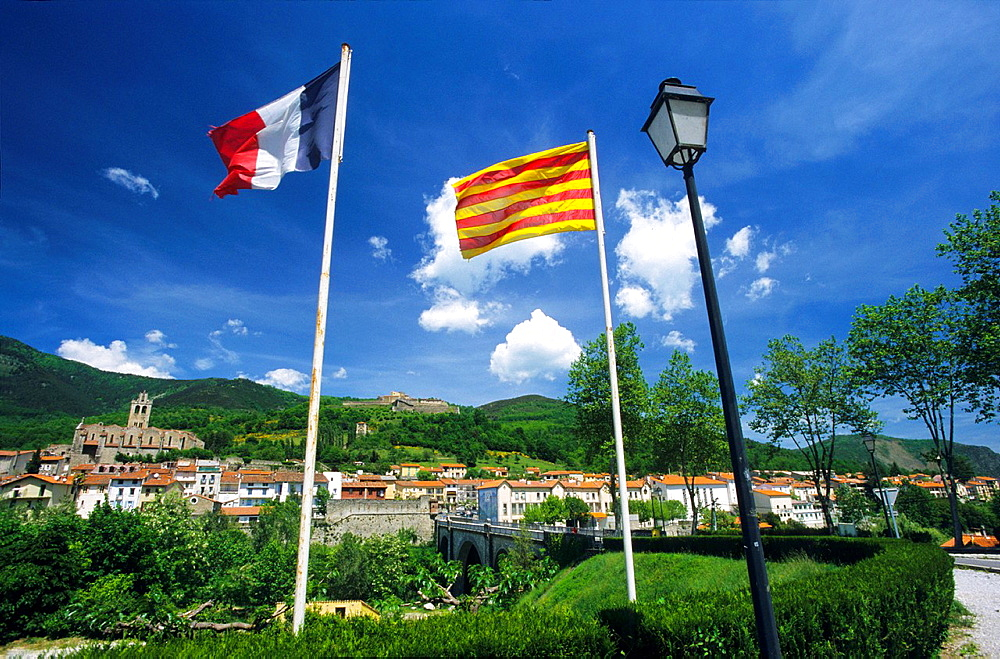 French and Catalonia flags, Prats de Mollo la Preste, Eastern Pyrenees, Languedoc-Rousillon, France