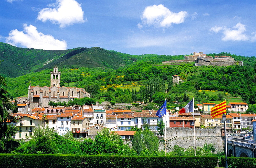 Prats de Mollo la Preste village and Lagarde fort (Vauban), Eastern Pyrenees, Languedoc-Rousillon, France