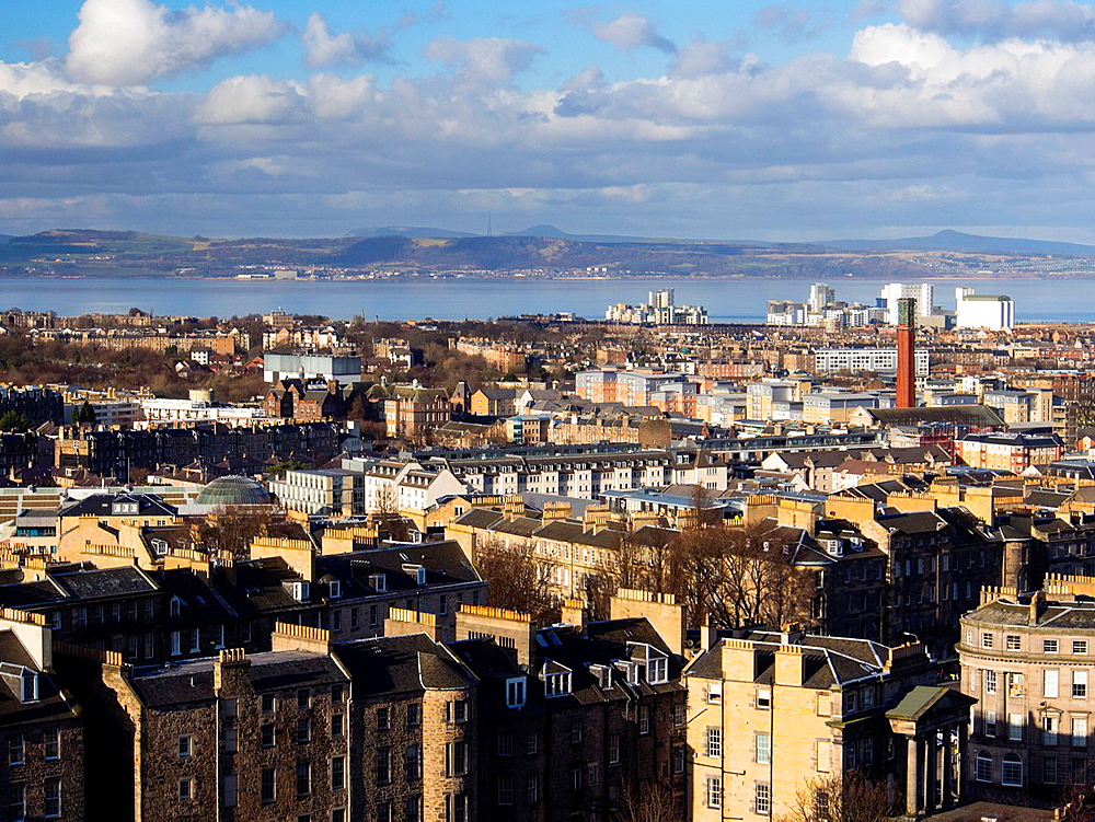 Scotland, Edinburgh, Calton Hill. Looking across Edinburgh City New Town to The Firth of Forth.