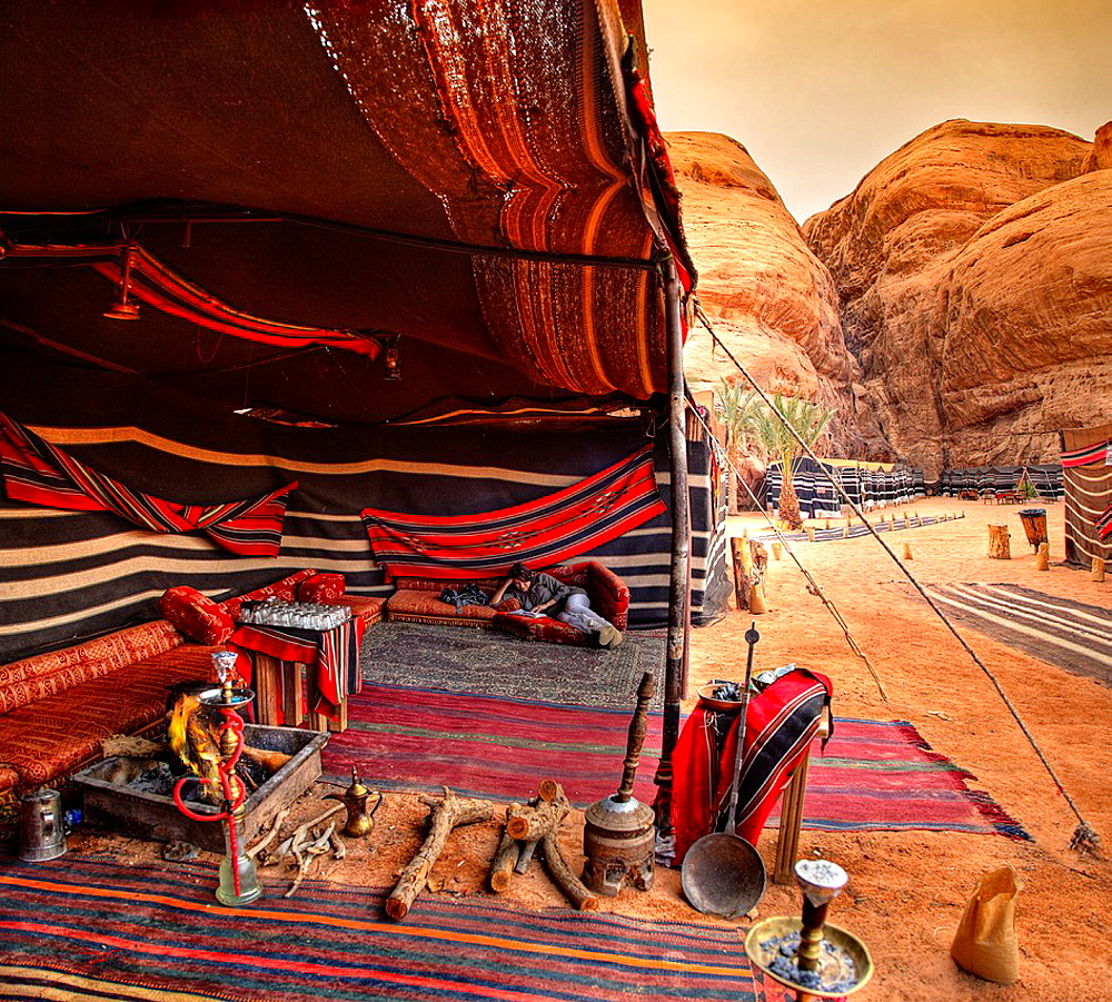 Captain desert camp in wadi rum desert. jordan.