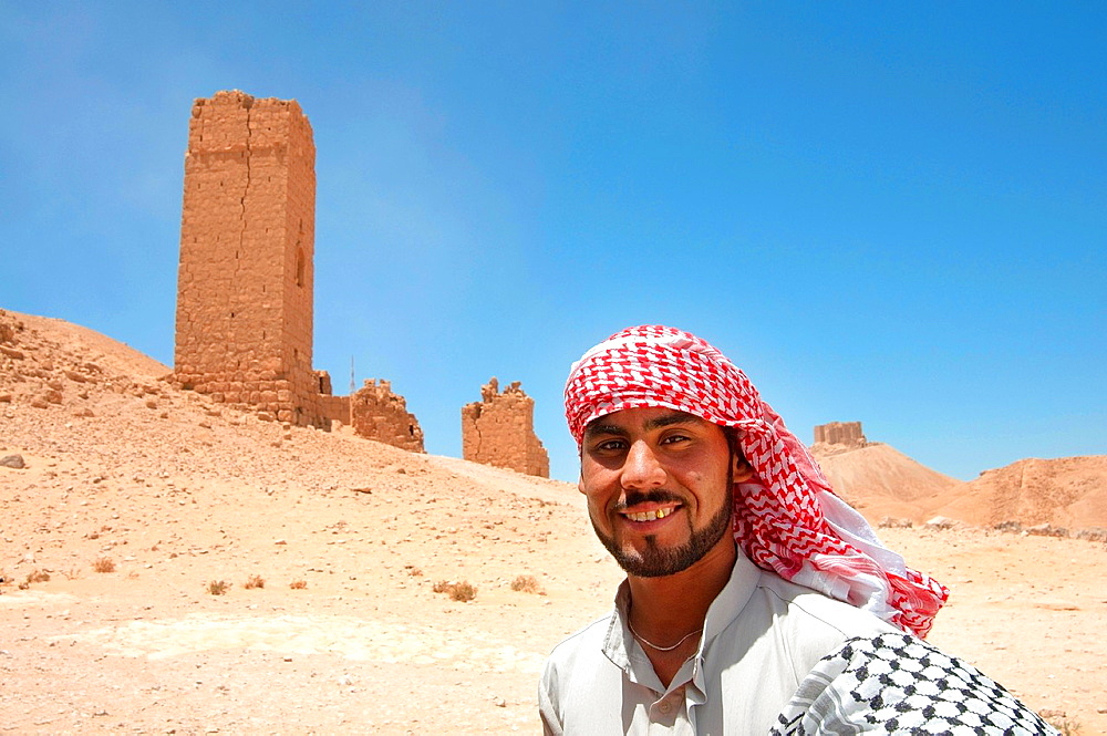 Bedouin near Tower tomb at Palmyra, Syria.