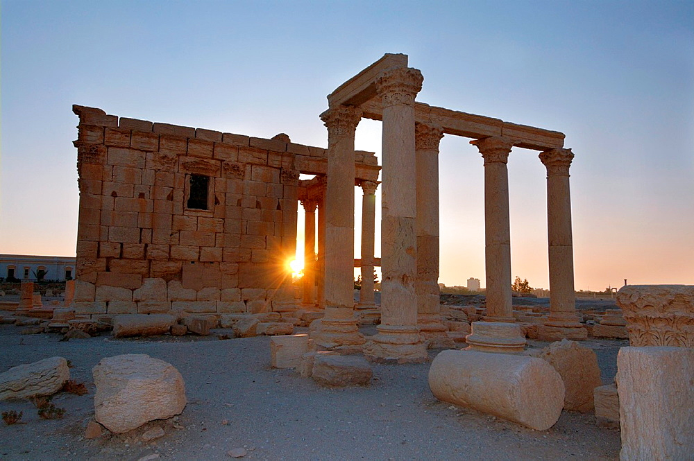 Sunrise over the ruins of the ancient city of Palmyra, Syria.