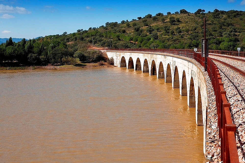 Railway line Cordoba, Almorchon, view from the bridge of Los Puerros, municipality of Espiel, reservoir of Puente Nuevo, near Cordoba, Spain