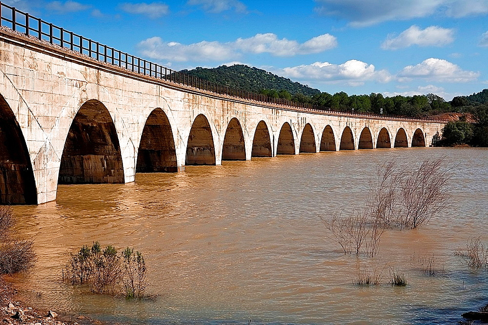 Railway line Cordoba, Almorchon, bridge of Los Puerros, municipality of Espiel, reservoir of Puente Nuevo, near Cordoba, Spain