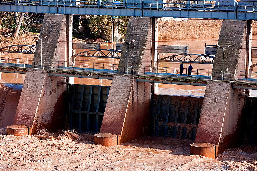 Gates of the dam to Mengibar, province of Jaen, Spain