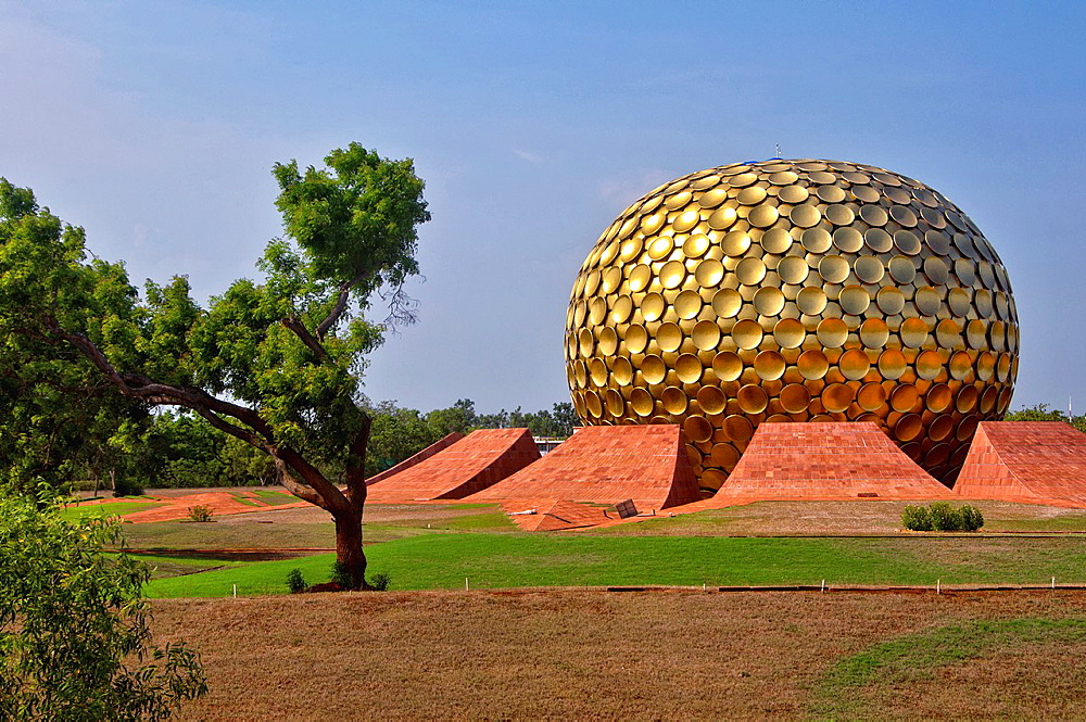 The Matrimandir at the center of Auroville. India, Tamil Nadu, Auroville.
