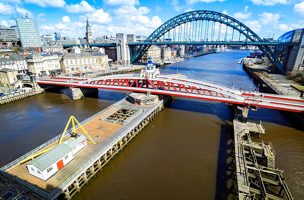 The Swing & Tyne Bridge over the River Tyne at Newcastle.