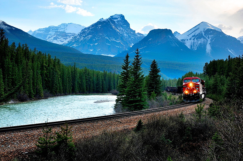 Eastbound train and Bow Range, Banff National Park, Alberta, Canada - 817-442622