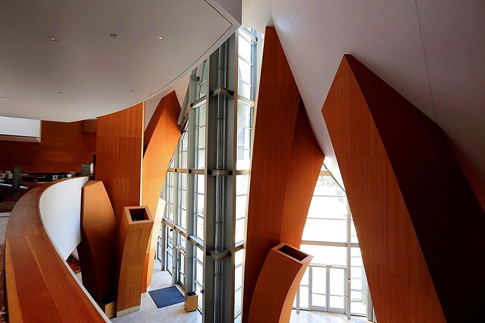 The main hallway inside of Walt Disney Concert Hall. Los Angeles. California. USA.