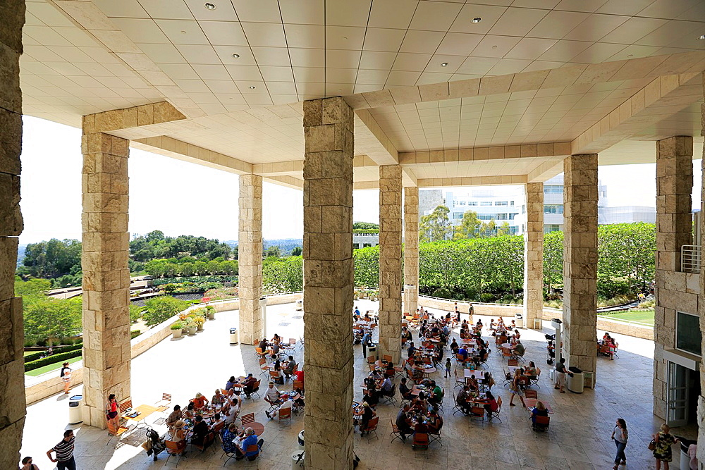 Cafe under Exhibitions Pavilion. Getty Center. Los Angeles. California. USA.