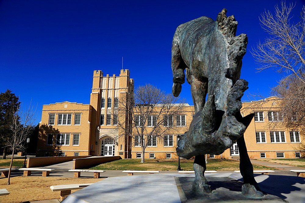 A jumping horse statue in front of New Mexico Military Institute. Roswell. New Mexico. USA.