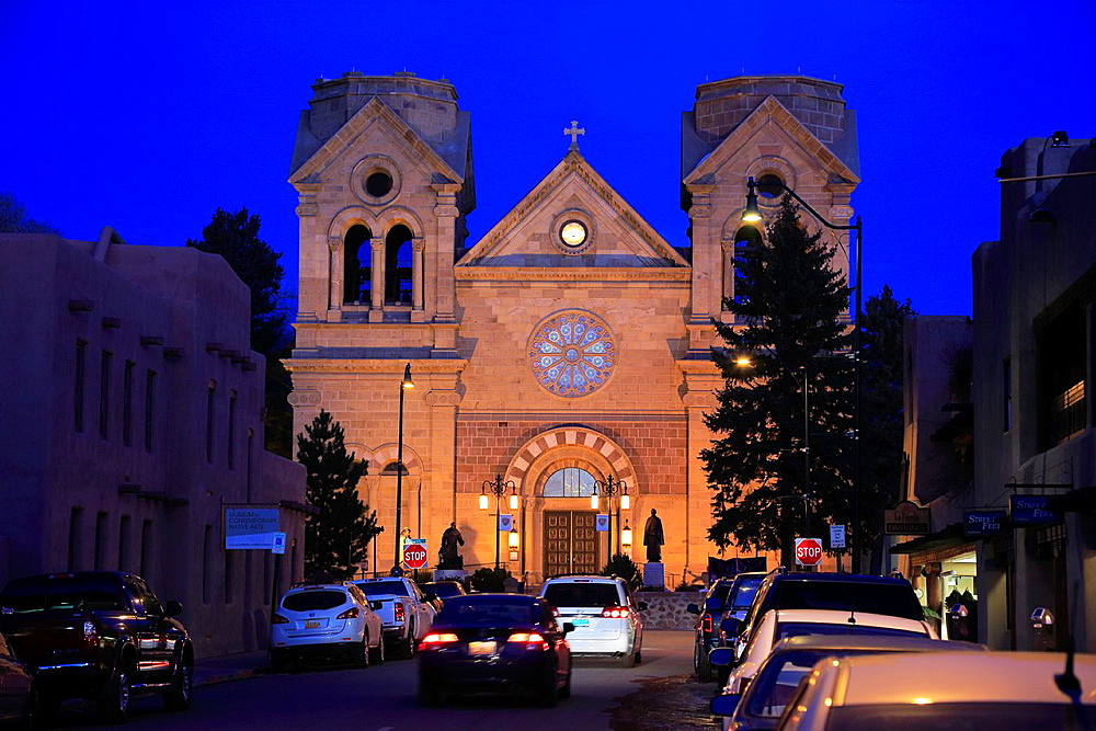 The night view of Cathedral Basilica of St. Francis of Assisi. Santa Fe. New Mexico. USA.