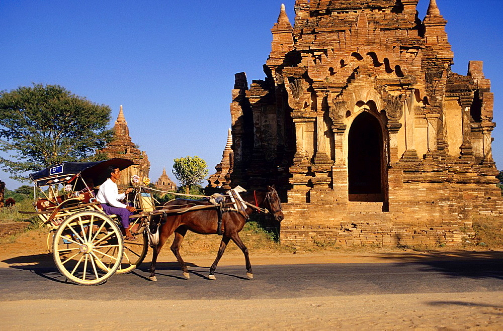 Horse-drawn carriage in front of a pagoda in Bagan