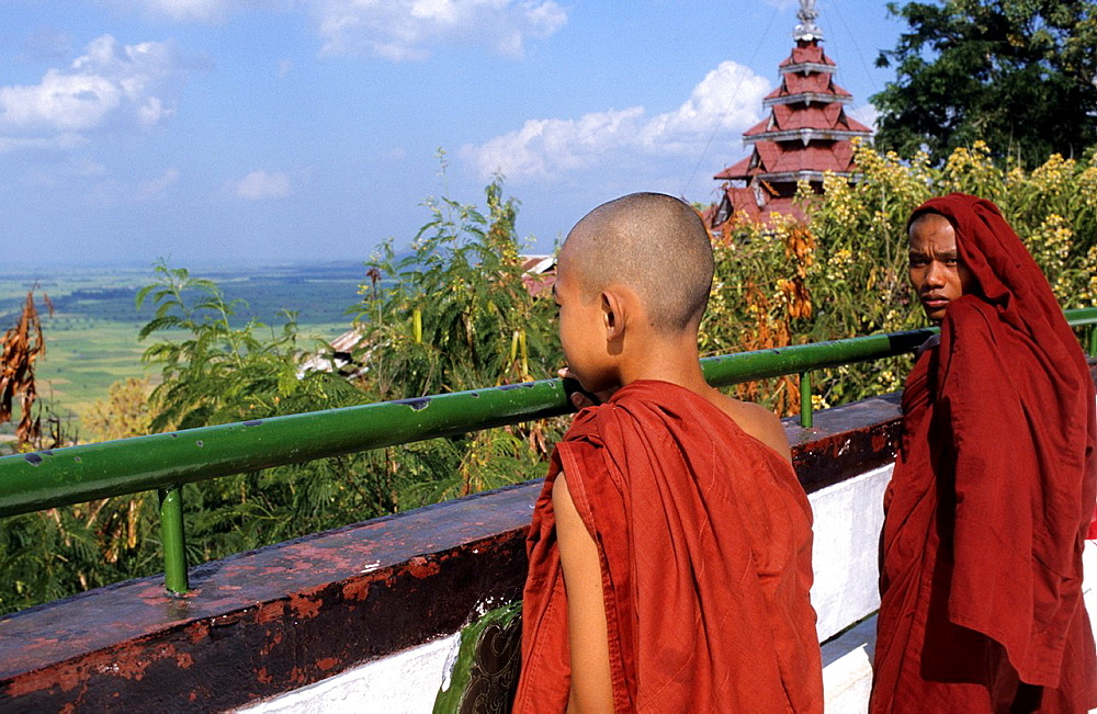 Burmese novices look from Mandalay Hill