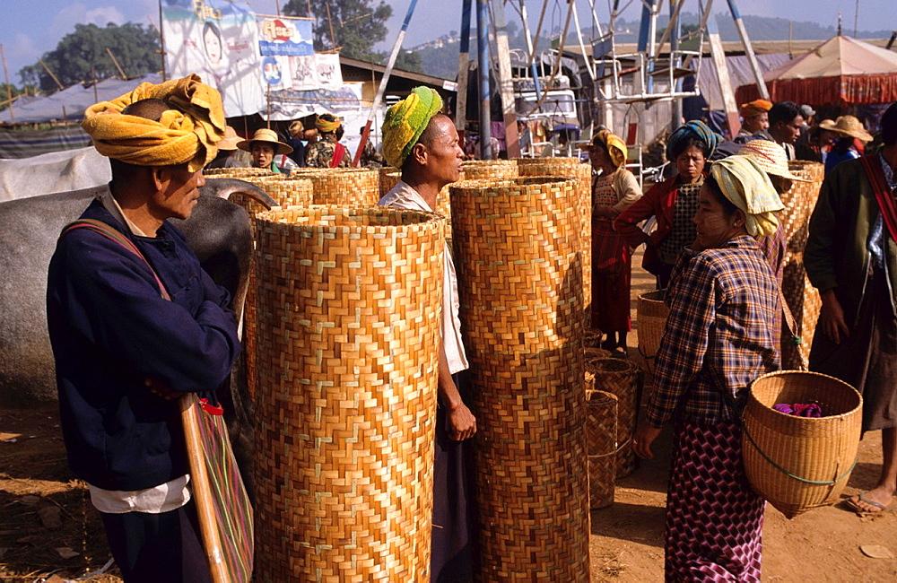 Basket seller at the Heho mountain village in Myanmar