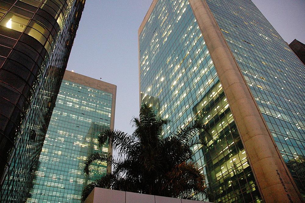 Sao Paulo, Brazil, offices along Avenida Paulista, nighttime