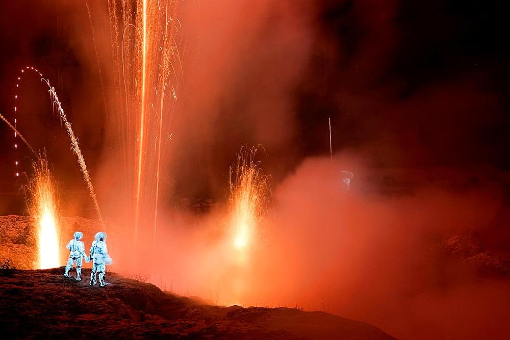 Fireworks in Pont du Gard, Nimes. Languedoc-Roussillon. France