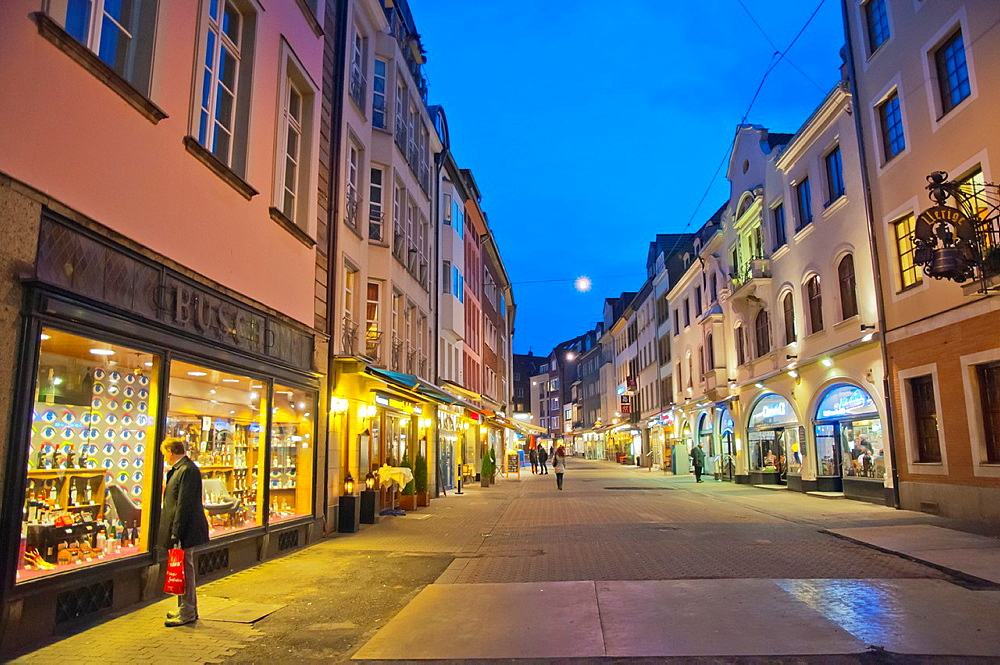 Markstrasse pedestrian shopping street Altstadt the old town Dusseldorf city North Rhine Westphalia region western Germany Europe.