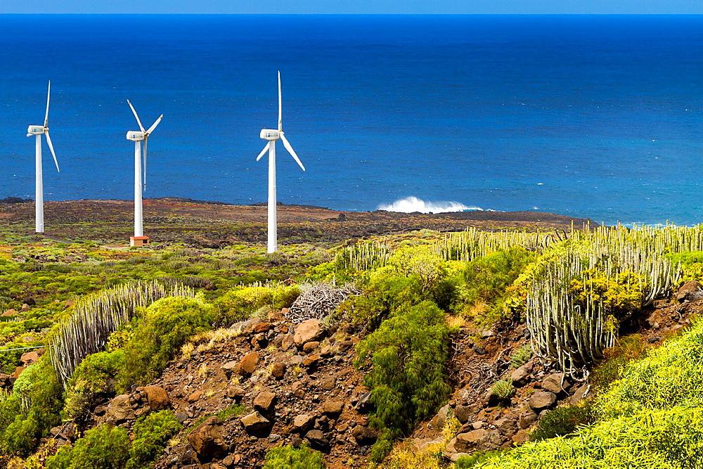 Wind turbines in Punta Teno. Tenerife, Canary Islands, Atlantic Ocean, Spain.
