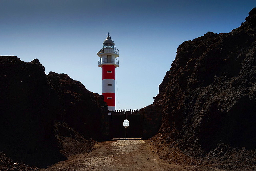 Lighthouse in Punta Teno. Tenerife, Canary Islands, Atlantic Ocean, Spain.