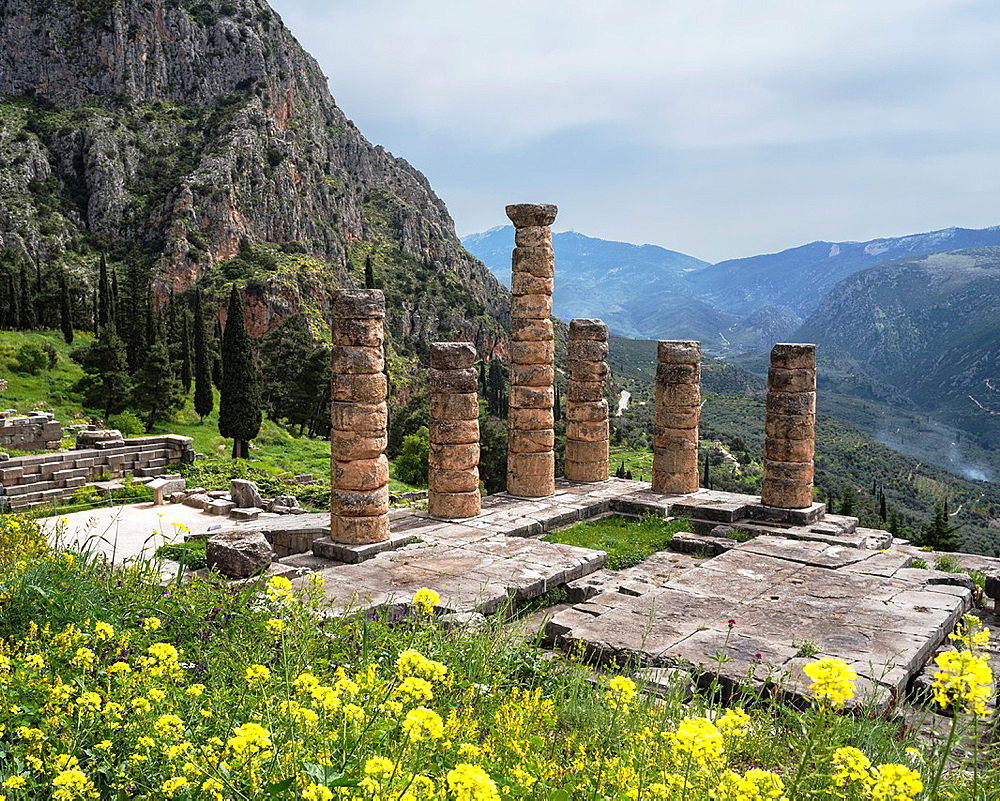Looking down on the Temple of Apollo at the ancient site of Delphi in Thessaly, Central Greece.