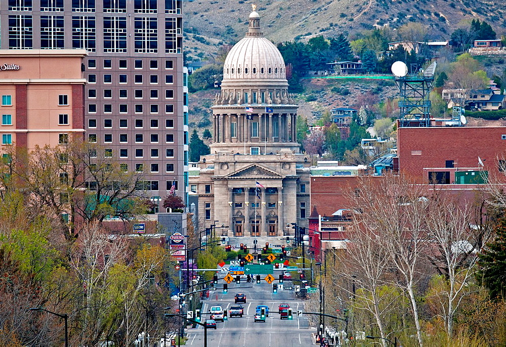 Boise, Downtown Boise and the Idaho State Capitol building on Capitol Blvd in the city of Boise in southwestern Idaho.