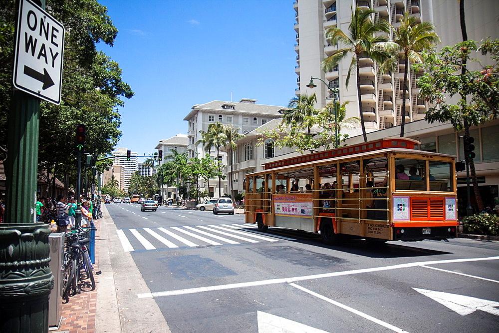 Kalakaua Avenue, Honolulu, Oahu.