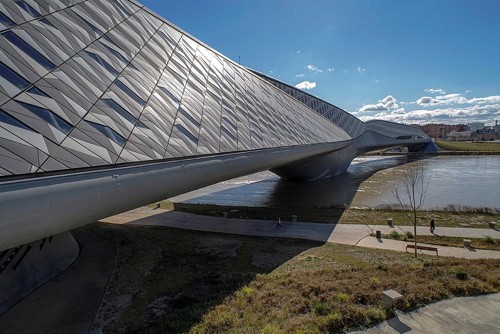 Zaha Hadid bridge, called Pavilion Bridge in ExpoZaragoza area, Saragossa, Aragon, Spain.