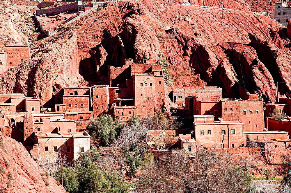 Adobe village in Dades Valley, Morocco.