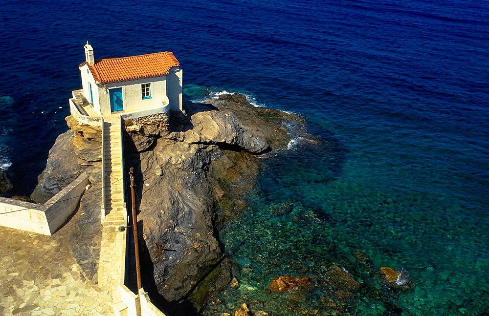 Chapel At Rock At Seaside At Karpathos Island, Greece - 817-444712