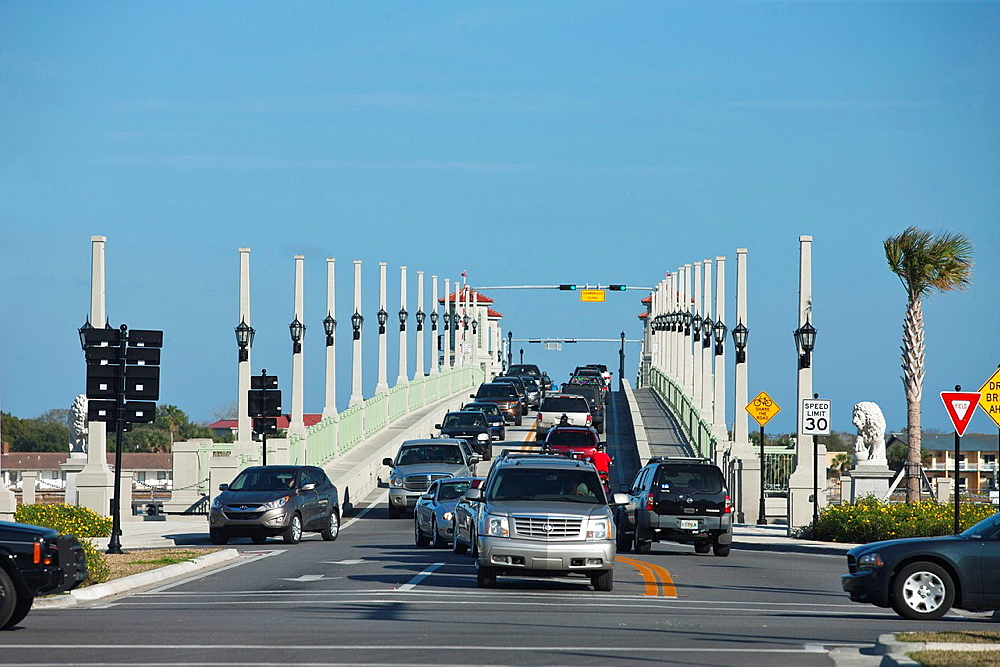 Traffic Crossing Bridge Of Lions Saint Augustine Florida USA.