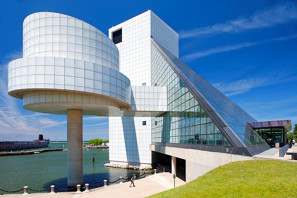 Rock And Roll Hall Of Fame Downtown Cleveland Cuyahoga County Ohio USA.
