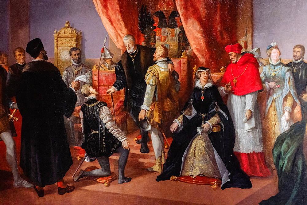 The abdication of Charles V in Brussels, oil on canvas, Francisco de Paula Van Halen, 1874, Monastery of San Jeronimo de Yuste, XV century, region of the Vera, Caceres, Extremadura, Spain, europe.