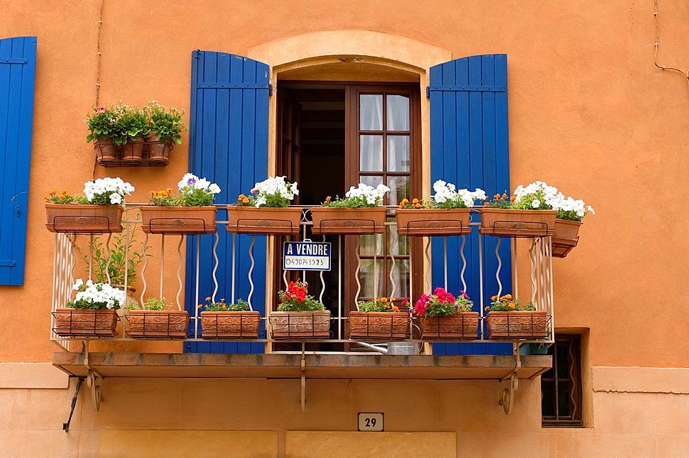 Apt, Balcony, Blue Windowsill, Decorated with Flower Pot, Provence, France.