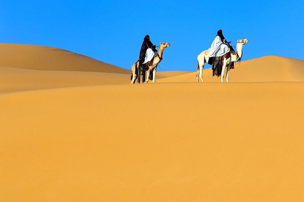 Tuaregs riding Camels, Libyan Arab Jamahiriya, Libyan Desert.