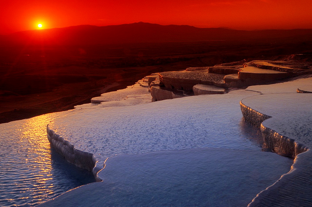 Pamukkale, Terrace Pools, Sunset, UNESCO World Heritage Site, Turkey. - 817-446106