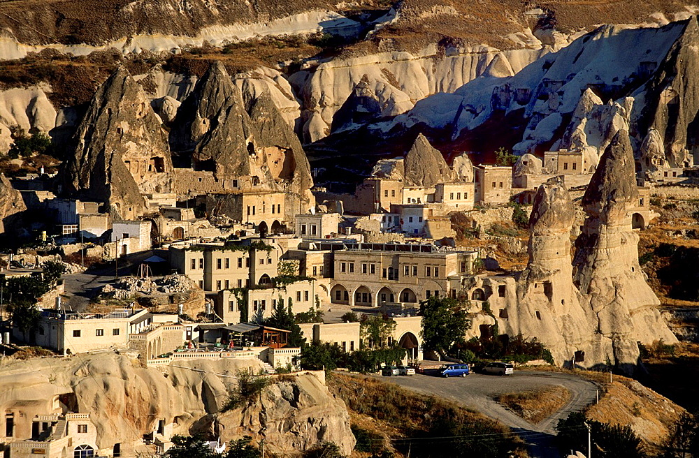 Goreme, Cappadocia, Homes carved from Tufa Formations, Turkey.