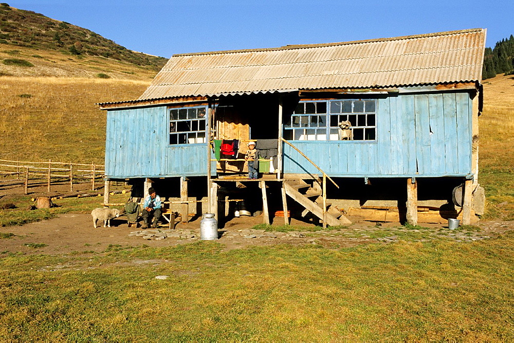 Farm House in the mountains, selling milk and produce cheese, Kyrgyzstan.