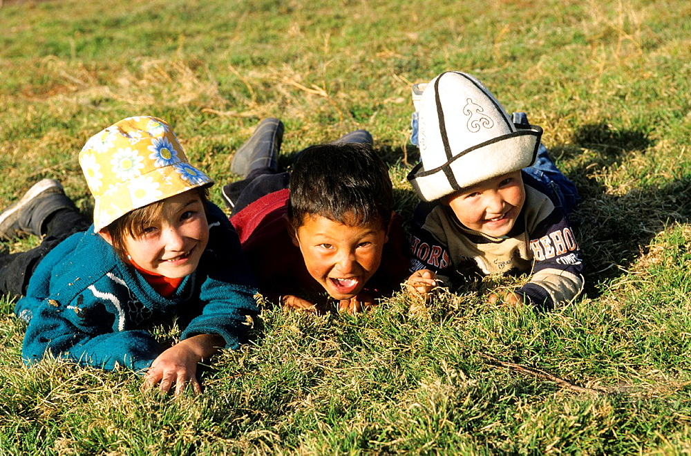 Kids in the Meadow, Mountain, Kyrgyzstan.