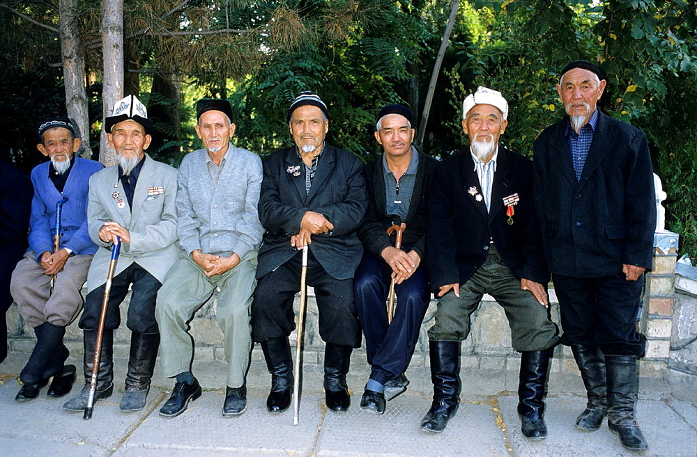 II War Veterans in a Sanatorium, Kyrgyzstan, Traditional Costume.