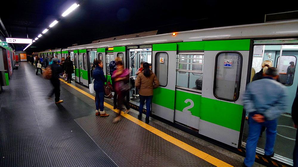 Subway train in Milano, Italy