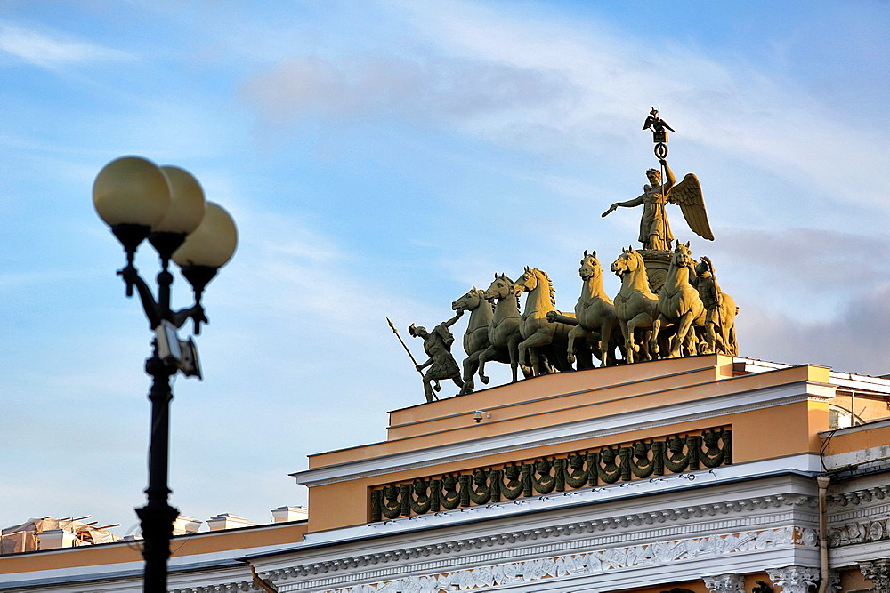 Sculptures on top of the general staff building, Saint-Petersburg, Russian Federation