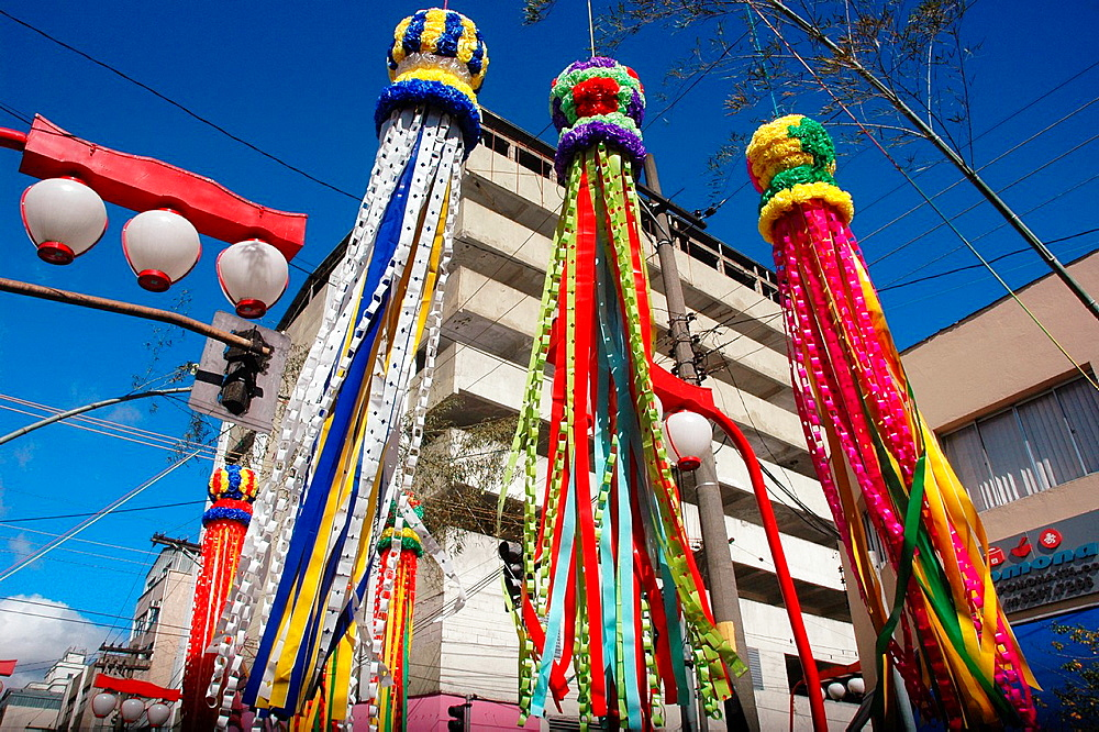 Sao Paulo, Brazil, fukinagashi festoons in the Asian neighborhood of Liberdade, during the Japanese festival of Tanabata Matsuri