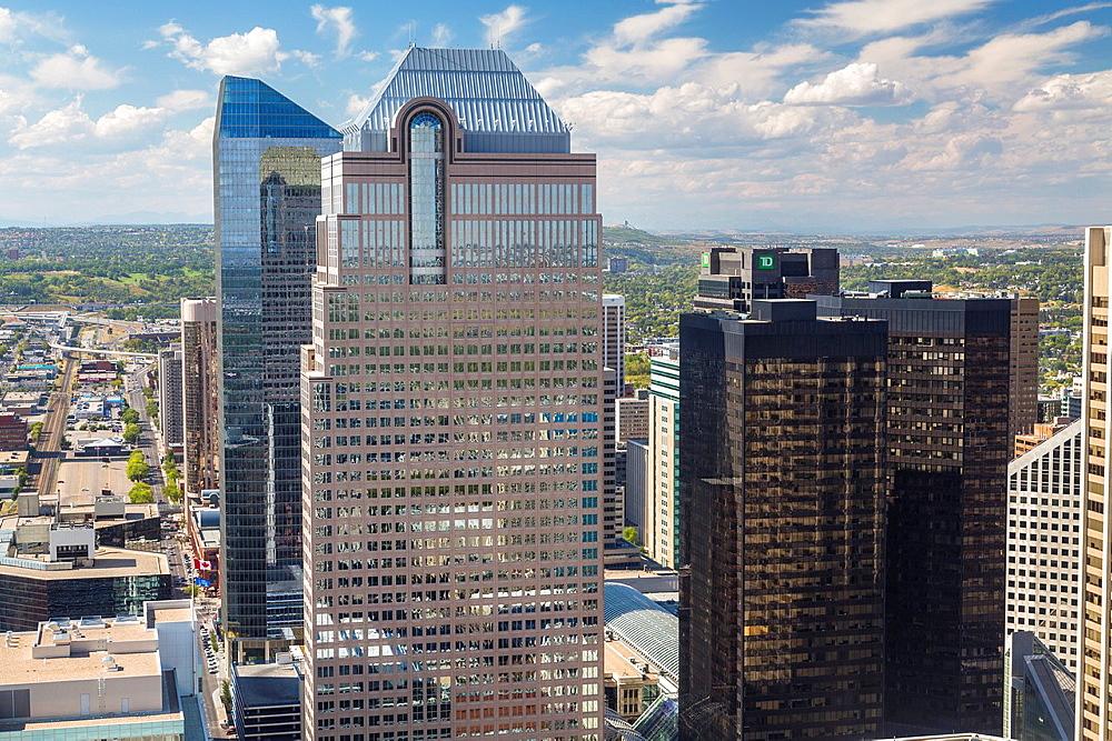Aerial view of Downtown Calgary in Alberta, Canada